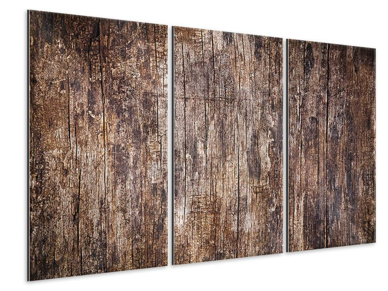 Metallic-Bild 3-teilig Retro-Holz