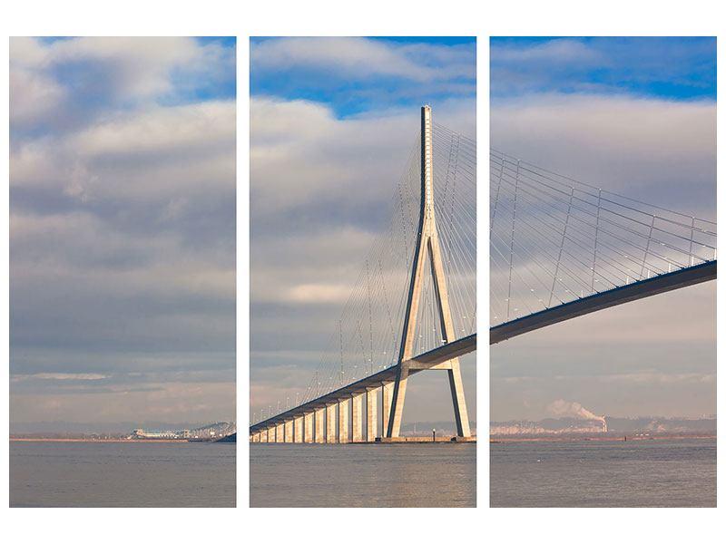Metallic-Bild 3-teilig Pont de Normandie
