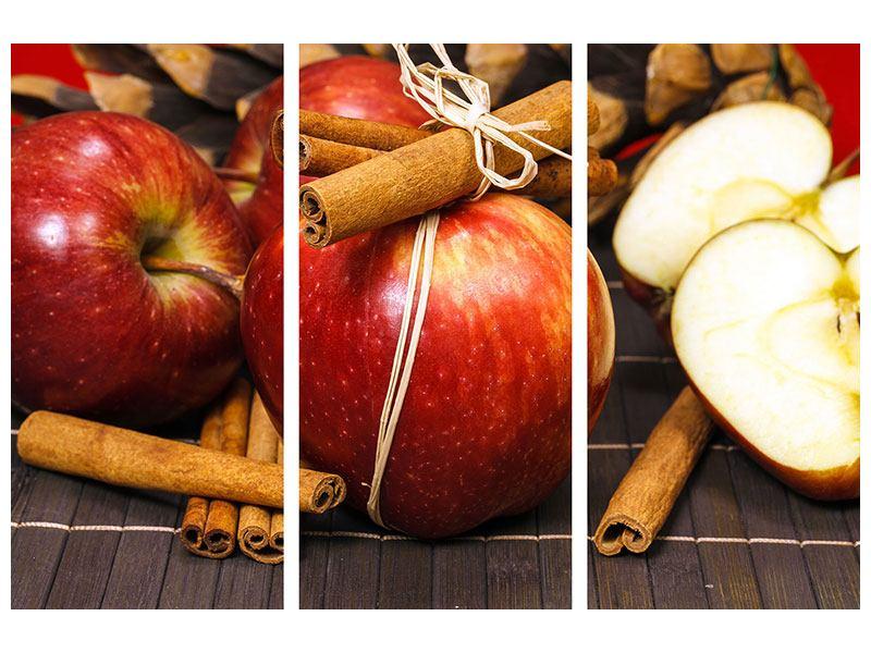 Metallic-Bild 3-teilig Äpfel