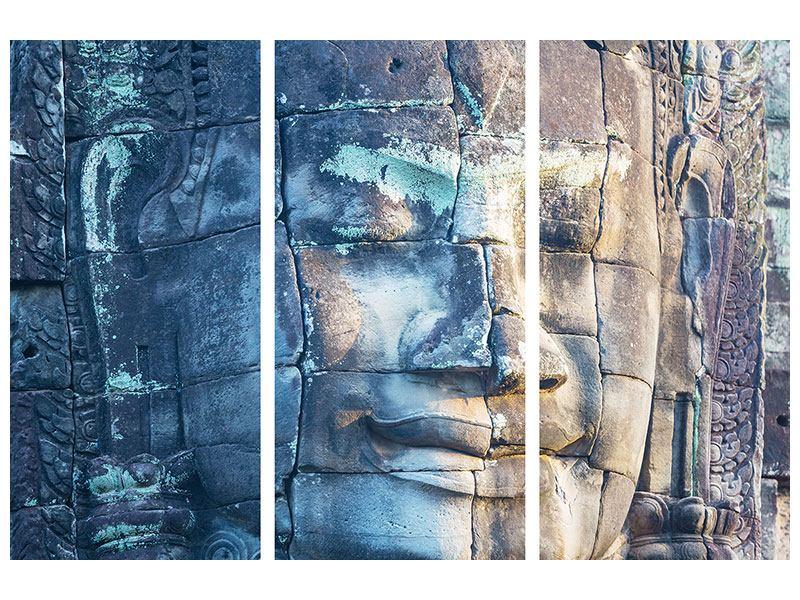 Metallic-Bild 3-teilig Buddha Statur