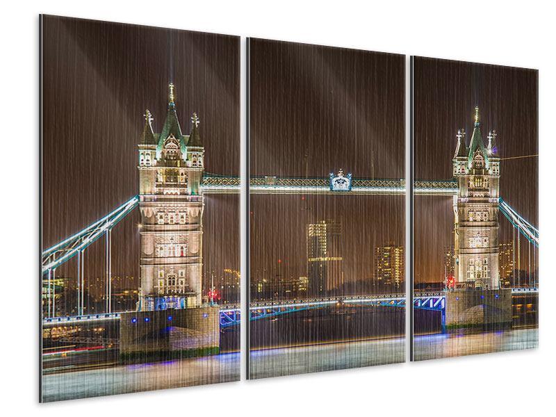Metallic-Bild 3-teilig Tower Bridge bei Nacht