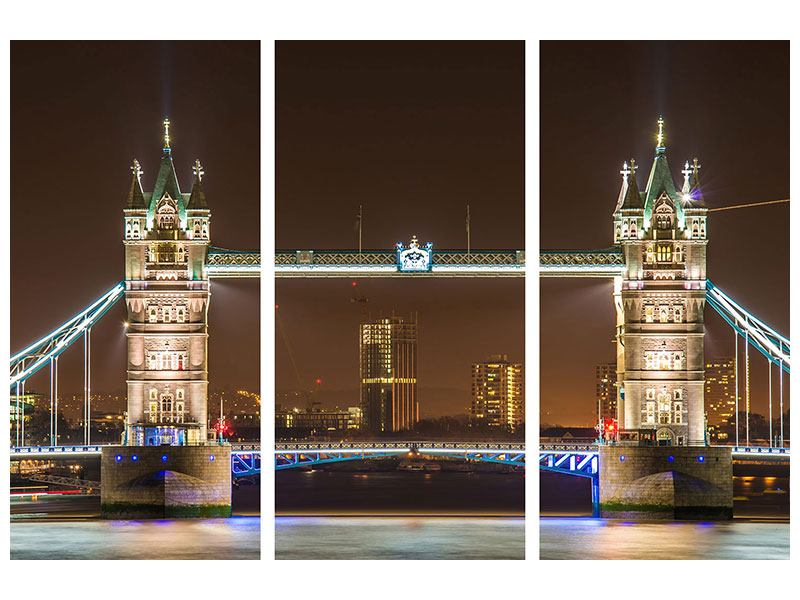 Metallic-Bild 3-teilig Tower Bridge bei Nacht