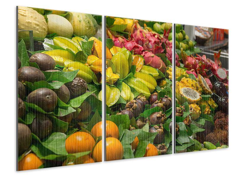 Metallic-Bild 3-teilig Früchte