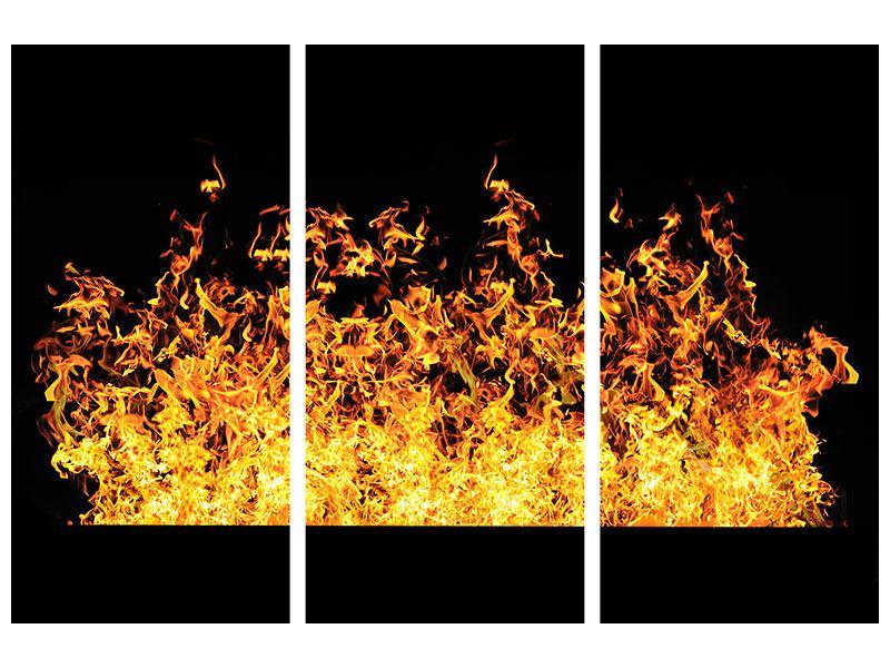 Metallic-Bild 3-teilig Moderne Feuerwand