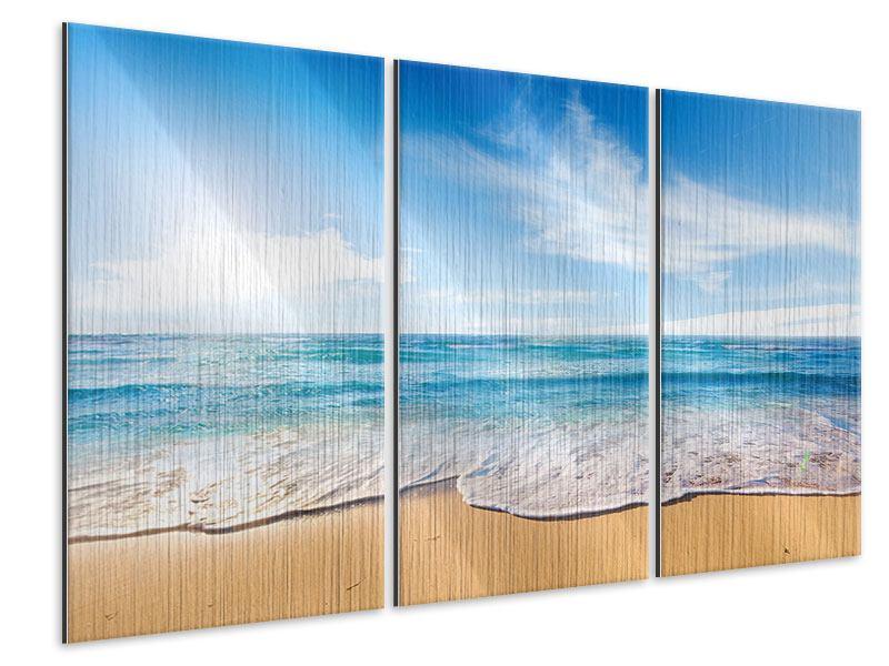 Metallic-Bild 3-teilig Spuren im Sand
