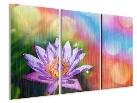Metallic-Bild 3-teilig Colored Lotus