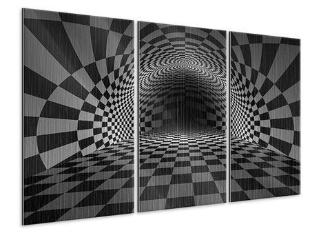 Metallic-Bild 3-teilig Abstraktes Schachbrett