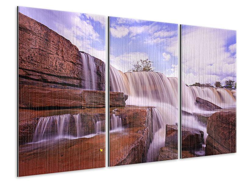 Metallic-Bild 3-teilig Himmlischer Wasserfall