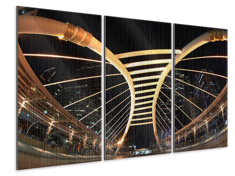 Metallic-Bild 3-teilig Avantgardistische Brücke