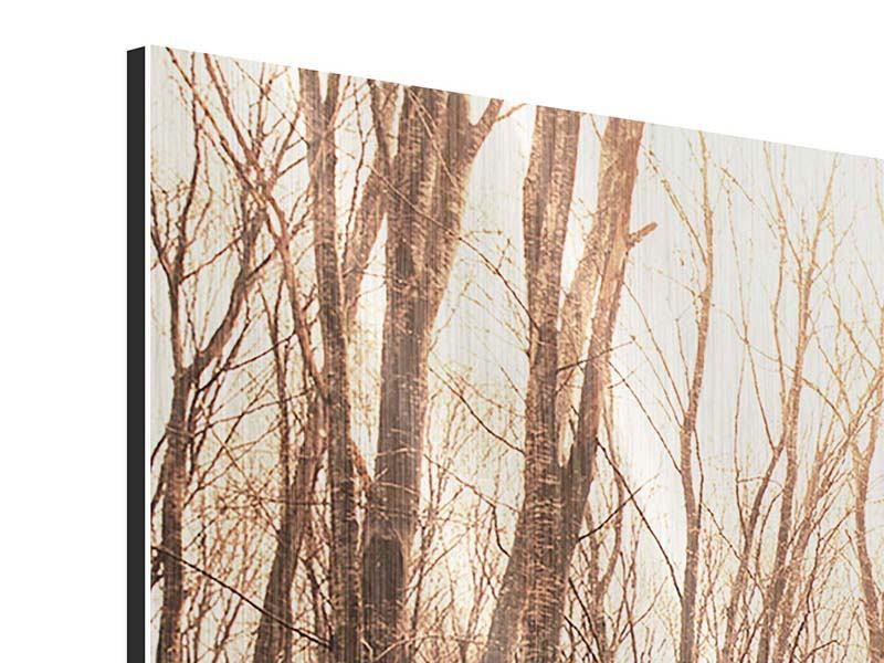 Metallic-Bild 3-teilig Der kahle Wald