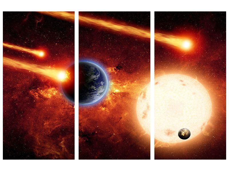 Metallic-Bild 3-teilig Der Kosmos