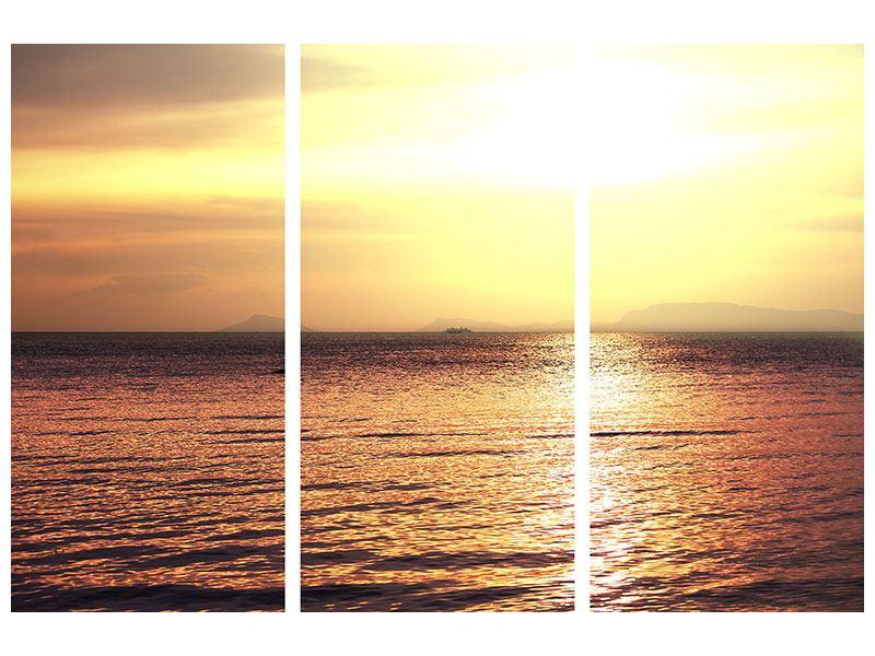Metallic-Bild 3-teilig Sonnenuntergang an der See