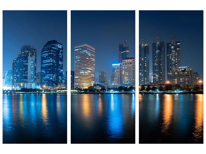 Metallic-Bild 3-teilig Skyline Bangkok bei Nacht
