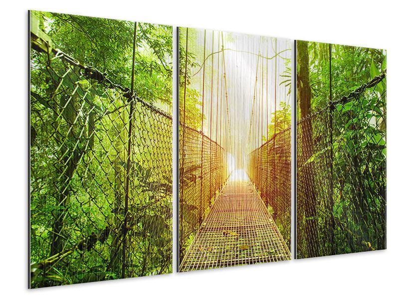 Metallic-Bild 3-teilig Hängebrücke