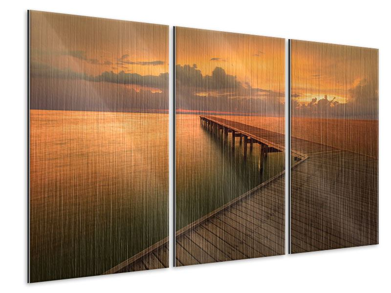Metallic-Bild 3-teilig Der Steg am Meer