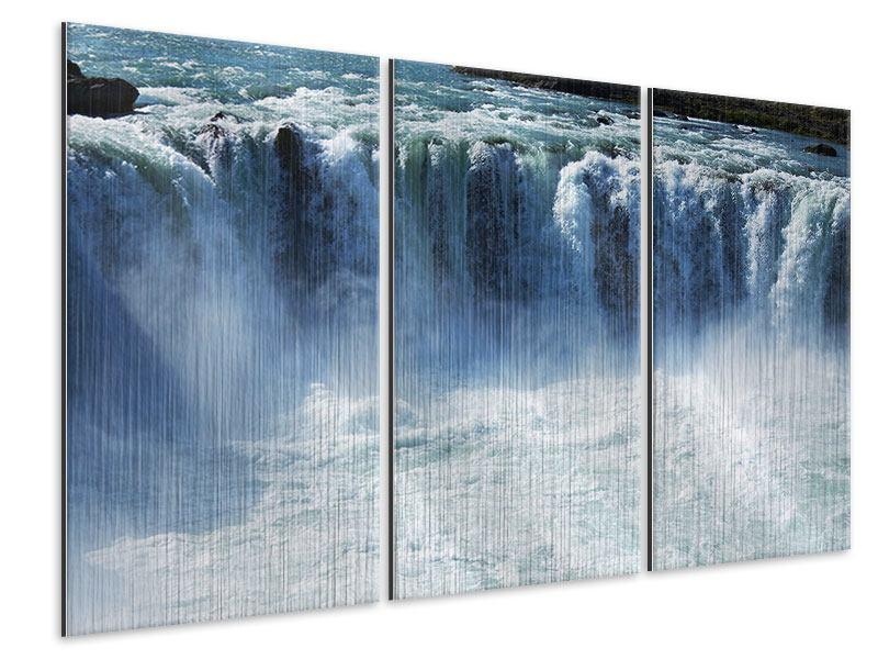 Metallic-Bild 3-teilig Mächtiger Wasserfall