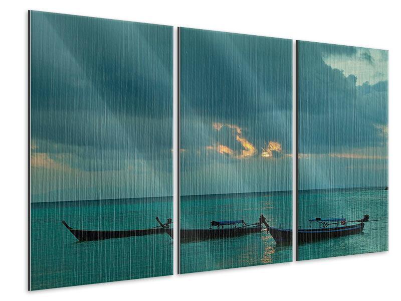 Metallic-Bild 3-teilig Ozean