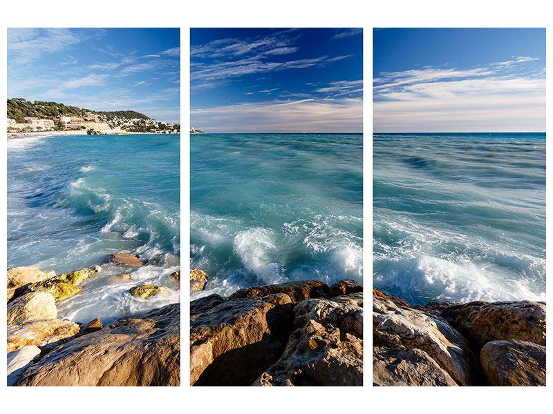 Metallic-Bild 3-teilig Cote D`Azur