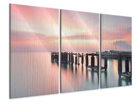 Metallic-Bild 3-teilig Der beruhigende Sonnenuntergang