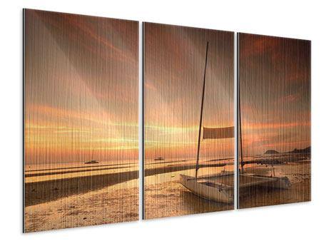 Metallic-Bild 3-teilig Sonnenuntergang am Strand