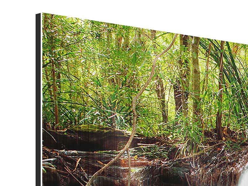 Metallic-Bild 3-teilig Der Fluss am Wasserfall