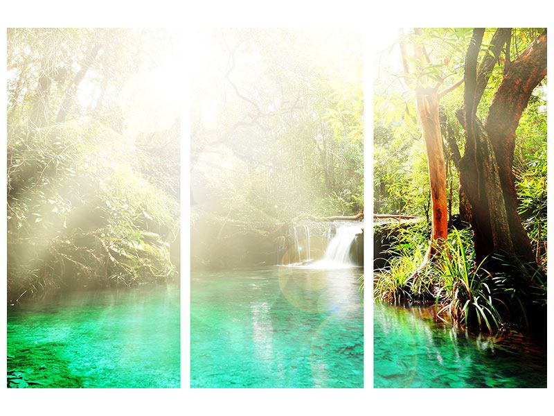 Metallic-Bild 3-teilig Die grüne Lagune