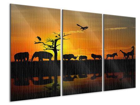 Metallic-Bild 3-teilig Safarietiere bei Sonnenuntergang