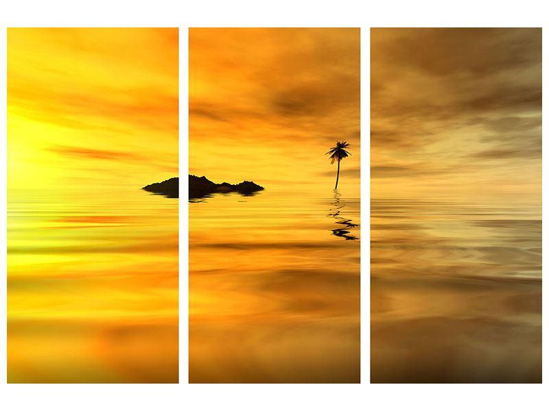 Metallic-Bild 3-teilig Ab auf die Insel