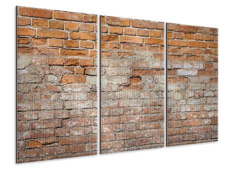 Metallic-Bild 3-teilig Alte Klagemauer