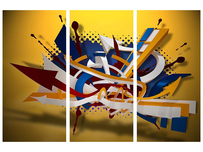 Metallic-Bild 3-teilig Graffiti Art