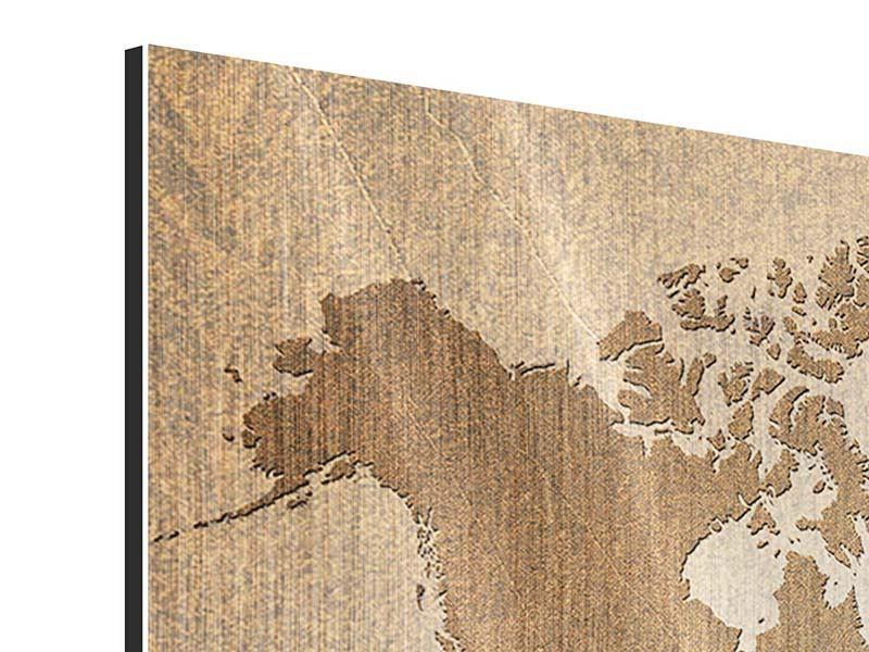 Metallic-Bild 3-teilig Karte der Welt in Vintage