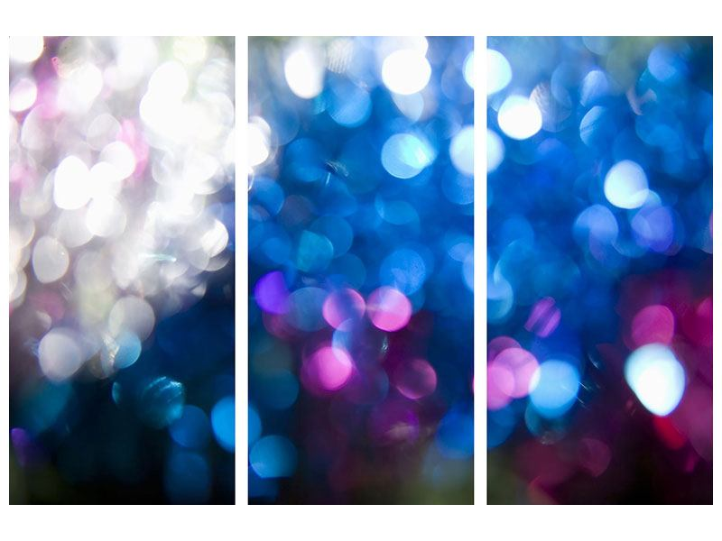 Metallic-Bild 3-teilig Abstraktes Licht