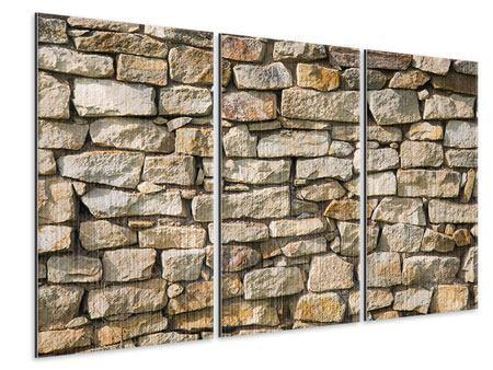 Metallic-Bild 3-teilig Natursteine