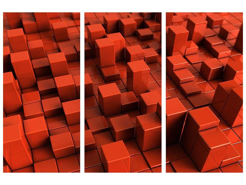 Metallic-Bild 3-teilig 3D-Rechtkant