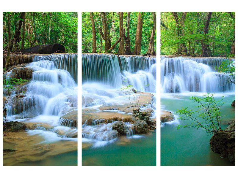 Metallic-Bild 3-teilig Kaskaden Huay Mae Khamin