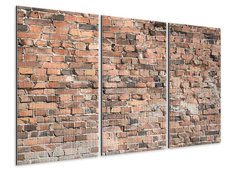 Metallic-Bild 3-teilig Alte Backsteinmauer