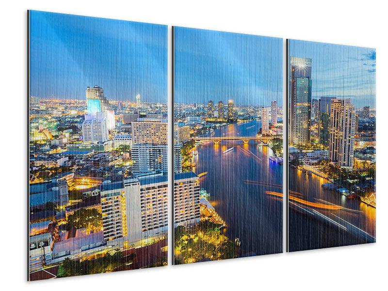 Metallic-Bild 3-teilig Skyline Bangkok bei Sonnenuntergang