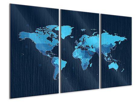 Metallic-Bild 3-teilig Weltkarte