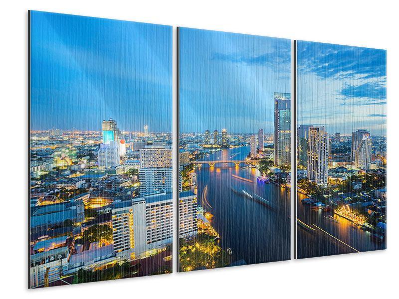 Metallic-Bild 3-teilig Skyline Bangkok in der Abenddämmerung