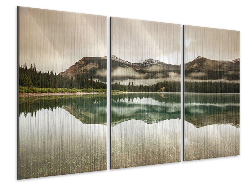 Metallic-Bild 3-teilig Spiegelung im Glacier Nationalpark
