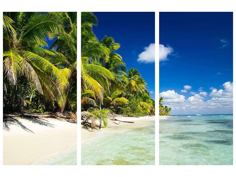 Metallic-Bild 3-teilig Die einsame Insel