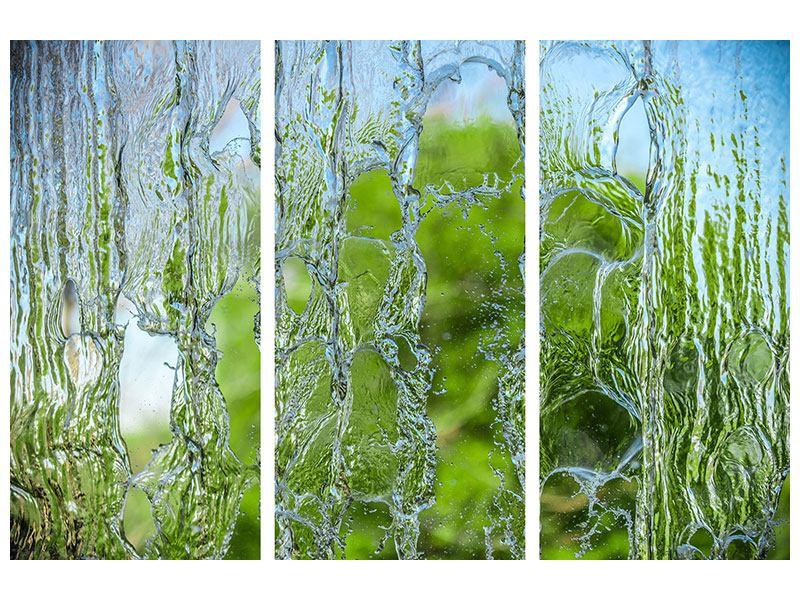 Metallic-Bild 3-teilig Hinter dem Wasserfall