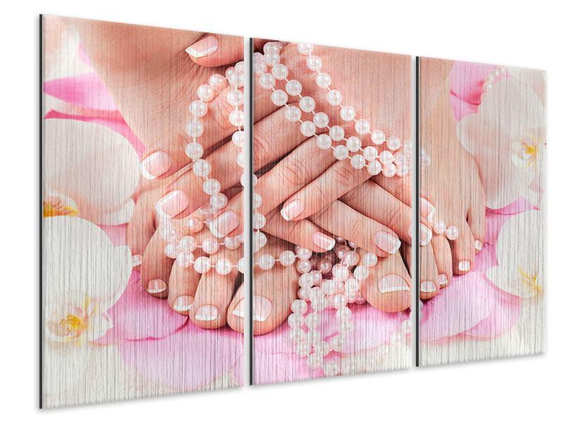 Metallic-Bild 3-teilig Hände und Füsse