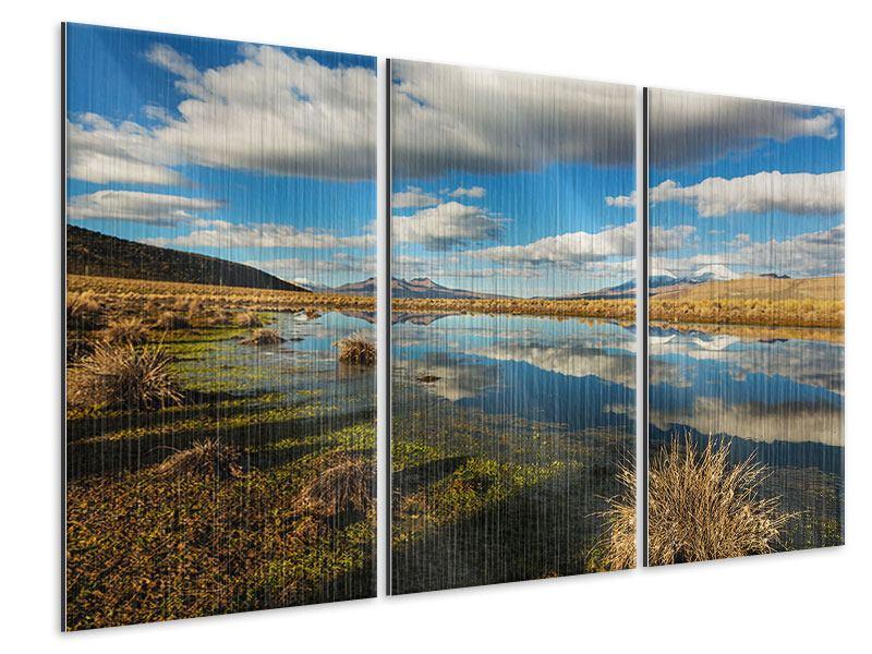Metallic-Bild 3-teilig Wasserspiegelung am See