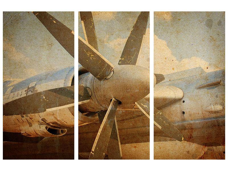 Metallic-Bild 3-teilig Propellerflugzeug im Grungestil