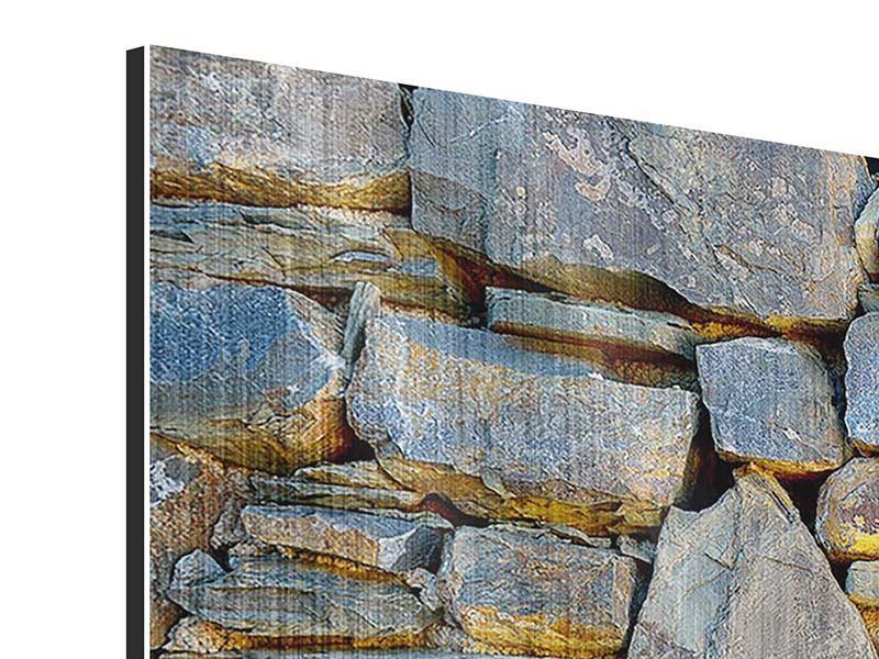 Metallic-Bild 3-teilig Natürliche Steinmauer