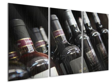 Metallic-Bild 3-teilig Flaschenweine