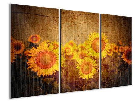 Metallic-Bild 3-teilig Retro-Sonnenblumen