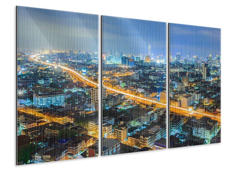 Metallic-Bild 3-teilig Skyline Bangkok im Fieber der Nacht