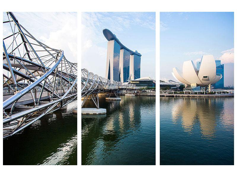 Metallic-Bild 3-teilig Singapur